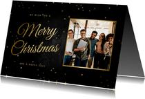 Kerstkaart zakelijk klassiek Merry Christmas met foto