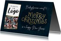 Kerstkaart zakelijk met typografie en foto's
