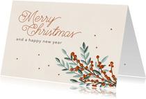 Kerstkaart zakelijk takjes & sterren