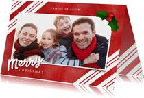 Kerstkaart zuurstok strepen, grote foto en Merry Christmas!