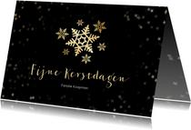 Kerstkaart zwart  en gouden sneeuwvlok - een gouden kerst