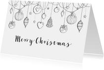 Kerstkaart zwart-wit kerstballen
