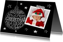 Kerstkaart zwart-wit tekst & foto