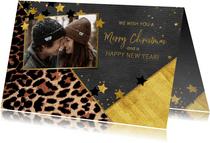 Kerstkaartje met foto stoer panterprint en sterretjes