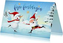 Kerstman en sneeuwpop on ice