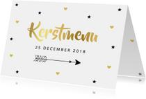 Kerstmenukaart hartjes sterren pijl