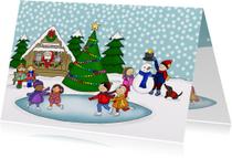 Kerstmis Kerst pleintje schaatsen
