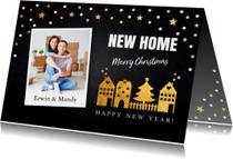 Kerstverhuiskaart foto confetti huisjes goud