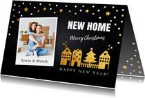 Kerstverhuiskaart foto confetti huisjes goudlook