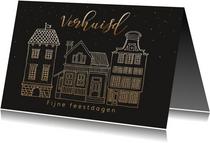 Kerstverhuiskaart huisje met goudlook