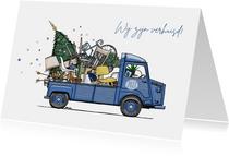Kerstverhuiskaart HY busje blauw