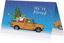 Kerstverhuiskaart mini pickup geel
