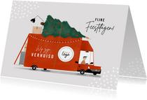 Kerstverhuiskaart rode verhuisbus kerstboom en logo