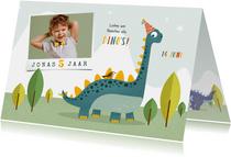 Kindefeestje dino feest vrolijk fotokaart brachiosaurus