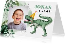 Kinderfeest uitnodiging stoer met t-rex en eigen foto