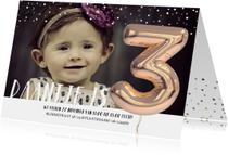 Kinderfeestje Ballon 3 jaar confetti