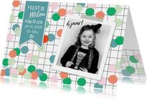 Kinderfeestje confetti fotokaart meisje