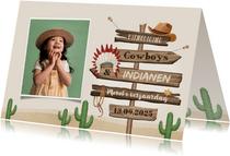 Kinderfeestje cowboys indianen foto wegwijzers hout