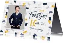 Kinderfeestje jongen confetti goud blauw foto feest