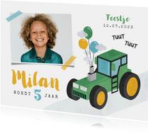 Kinderfeestje jongen stoer tractor boerderij feest