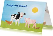 Kinderfeestje koe, varken, kip