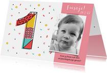 Kinderfeestje meisje 1 jaar hartjes confetti