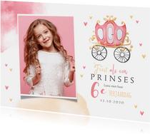 Kinderfeestje prinses koets hartjes kroontje foto hartjes