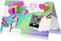 kinderfeestje schattige unicorn met ballonnen