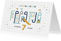 Kinderfeestje speeltuin typografisch uitnodiging jongen
