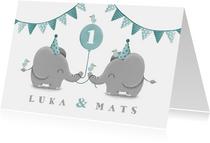 Kinderfeestje tweeling olifantjes met ballon en slingers