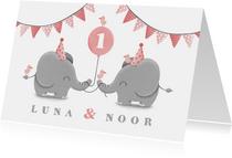 Kinderfeestje tweeling olifantjes met slingers en ballon
