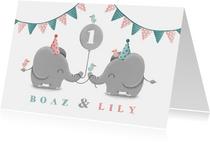 Kinderfeestje tweeling olifantjes uni met ballon en slingers