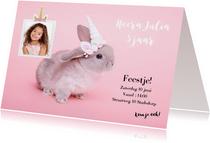 Kinderfeestjes - Kinderfeestje uitnodiging - Eenhoorn konijntje roze