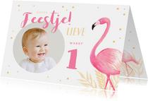 Kinderfeestje uitnodiging flamingo met eigen foto