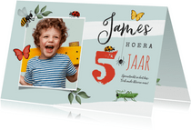 Kinderfeestje uitnodiging insecten bos speurtocht