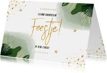 Kinderfeestje uitnodiging jungle bladeren en goudlook