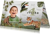 Kinderfeestje uitnodiging jungle dieren tropisch foto