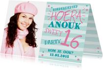 Kinderfeestje uitnodiging meisje foto mint roze