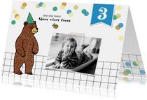 Kinderfeestjes - Kinderfeestje uitnodiging met gezellige beer