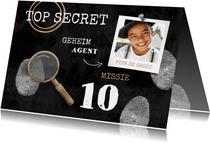 Kinderfeestje uitnodiging top secret detective feestje