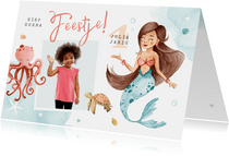 Kinderfeestje uitnodiging zeemeermin dieren water foto
