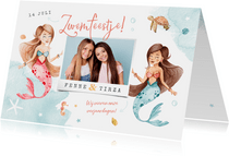 Kinderfeestje uitnodiging zeemeerminnen samen zwemfeest