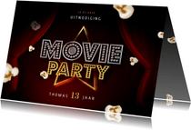 Kinderfeestje uitnodigingskaart bioscoop movie party popcorn