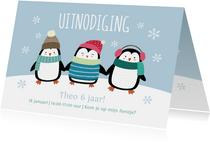 Kinderfeestje uitnodigingskaart pinguïns blauw