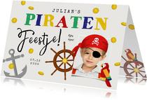 Kinderfeestje uitnodigingskaart piraten schatkist