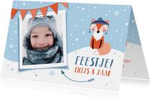 Kinderfeestje uitnodigingskaart winter vosje