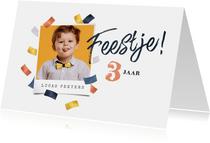 Kinderfeestje vrolijk hip confetti goud blauw rosé foto