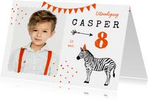 Kinderfeestje zebra oranje feest foto slingers confetti