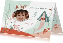Kinderfeestje zeemeermin onderwater uitnodiging meisje