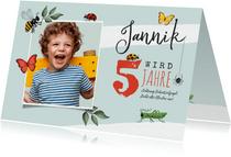 Kindergeburtstags-Einladung Foto & Insekten